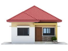This 3 bedroom house design has a total floor area of 82 square meters. Minimum lot size required for this design is 167 square meters with 10 meters lot width to maintain meters setback both side. Model House Plan, My House Plans, House Layout Plans, House Layouts, Small House Plans, Flat Roof House Designs, Modern Bungalow House Design, House Roof Design, Simple House Design