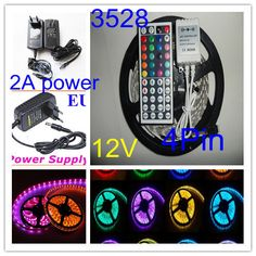 3528 RGB 60Led/m 5m waterproof led strip 44keys +4pin connector+contol box +2A power , automobile and bicycle decoration Light $171.14 - 200.38 Bicycle Decor, Led Strip, Automobile, Bike, Night, Decoration, Car, Bicycle, Decor