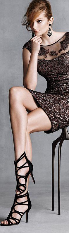 Kay Unger New York ● Metallic Lace-Yoke Cocktail Dress