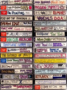 I adore these images of cassette tape spines lovingly labeled and decorated from the caveman days. I don't miss cassette tapes at all, but the bespoke folk art aspect of these is kind of funky fresh, you have to admit… Via Boing Boing Rock And Roll, Dark Wave, Arte Punk, Punk Art, Echo And The Bunnymen, 80s Aesthetic, Little Bit, Joy Division, Lost Art