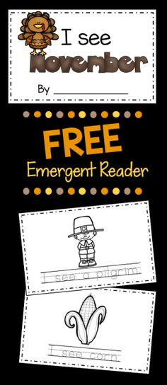 FREE Thanksgiving Emergent Reader - adorable literacy center for November in Kindergarten - Preschool and Pre-K