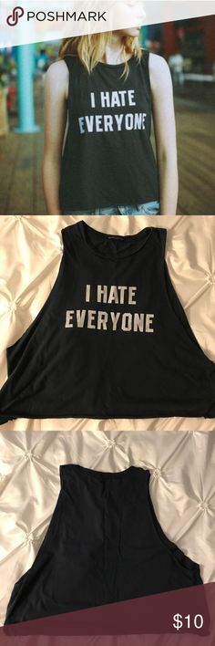 Brandy Melville I Hate Everyone Muscle Tank Navy blue tank, great representation of your mood while wearing it Brandy Melville Tops Muscle Tees