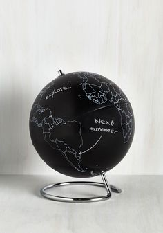 Globe Jotter. OH MY GOD! We WILL own this at our first place together. AMAZING!!!! This is exactly what I have been looking for! I love globes! #black #modcloth
