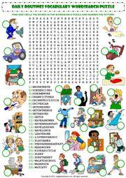 thói quen hàng ngày từ vựng wordsearch biểu tượng bảng câu đố