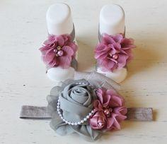 Chiffon baby Barefoot sandals and headband by PinkLilysDesigns1, $23.00