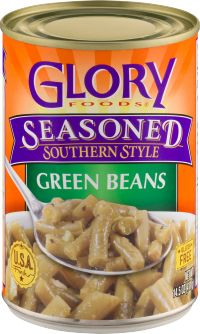 Glory Foods Seasoned Green Beans are slow simmered with onions, garlic and spices in a bacon-flavored broth. Great for your favorite recipe or just heat and eat! Seasoned Green Beans, Southern Style Green Beans, Bacon Flavored, Onions, Garlic, Bbq, Spices, Favorite Recipes, Seasons
