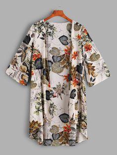 Stagioni Fashion for Women, Resortwear and Beachwear for Women. Item: Tropical Print Dip Hem Kimono for Women Festival Style, Kimono Fashion, Fashion Dresses, Tropical Fabric, Tropical Design, Kimono Blouse, Mode Hijab, Beachwear For Women, A Boutique