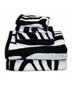 White & Black Zebra Towel Set