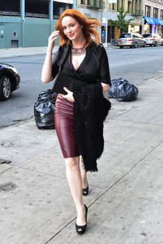 """Another Christina Hendricks...love that she wears something like a leather skirt...inspiration for us """"larger"""" gals 8-D"""