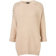 Knitted Stud Shoulder Jumper (125 BRL) ❤ liked on Polyvore featuring tops, sweaters, jumpers, topshop, shirts, nude, beige shirt, studded sweater, slouch sweater and slouch shirt
