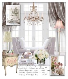 """""""A Touch of Shabby Chic"""" by frenchfriesblackmg ❤ liked on Polyvore featuring interior, interiors, interior design, home, home decor, interior decorating, Diane James, Universal Lighting and Decor, Shabby Chic and Mix & Match"""