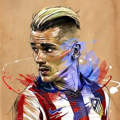 Paris based artist Yann Dolan creates strong portraits of Antoine Griezmann, Pogba & Ribery. More online. #soccerbible