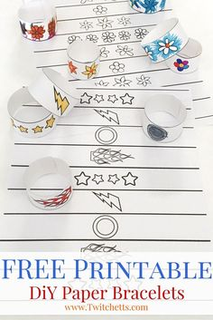 DIY Paper Bracelets-Print off these fun coloring book bracelets for your kiddos. There are 2 different designs and DiY instructions on how to put them together.
