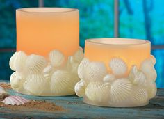 #97839 LED Seashell Flameless Pillar Candles - 2 pc by sensationaltreasures