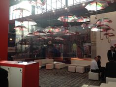 Raining indoors? A lovely umbrella display at FESPA Digital 2016. #fespadigital #fespa2016