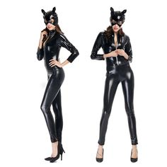 Black Long Sleeves Style Catwoman Wear With Face Mask Patent Leather Jumpsuit Ladies Stage Show Dancewear