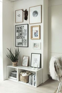 Gallery walls are a great way to showcase a wide variety of your favorite quotes or posters, etc. (Source: My Scandinavian Home) http://amzn.to/2saZO4H