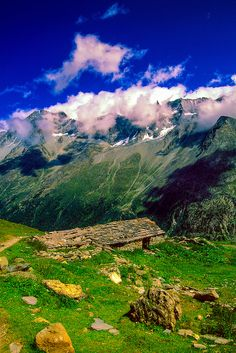 Along a hiking path on the Haute Route near the village of Arolla, Switzerland.