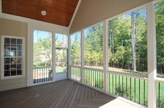 screened in porch- white and stain the concrete Enclosed Porches, Decks And Porches, Screened In Deck, Screened Porches, Crown Molding Installation, Porch Fireplace, Sunroom Addition, Exterior Remodel, Pool Decks