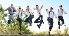 Jump shot of the groomsmen & groom.. This is a must do for my wedding!