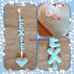 Hanging felt name with heart.