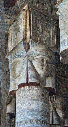 Dandara temple. Hathour headed column.