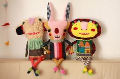The mixing of fabrics and textures makes these so interesting. plushyouLA by super ninon, via Flickr