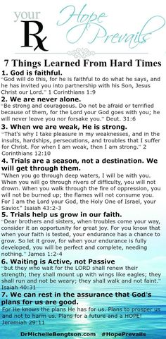 Trusting God in Hard Times Lessons Learned During the most difficult challenges in life, we experience the greatest growth. 7 lessons learned from hard times. Prayer Verses, Bible Prayers, Bible Scriptures, Prayer Times, Quotes About Strength In Hard Times, Quotes About God, Faith Quotes, Bible Quotes, Peace Quotes