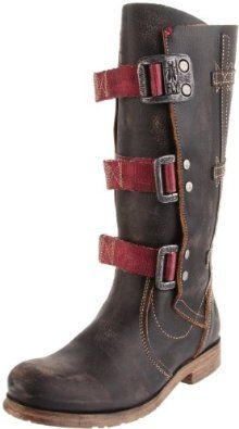 Fly London Womens High Legged Boot With Straps In Vintage Leather - Black And Brown (Black) $195.00