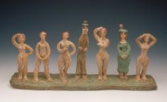 Decoy ~ Beatrice Wood 1948 Seven Figures Standing on Slab Base