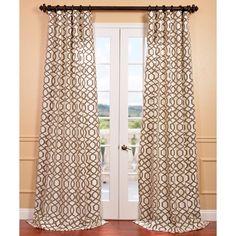 Exclusive Fabrics Filigree Pearl Flocked Faux Silk Curtain Panel (50W x 108L), Beige Off-White, Size 50 x 108