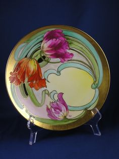 "Julius Brauer Studios Arts & Crafts ""Tulips"" Design Plate (Signed ""Roy"" for C. Roy /c.1911-1926)"