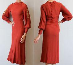 1930s Red Art Deco Gold Studded Long Sleeve Rayon Crepe Fabulous Design Bias Cut Dress Button Details