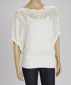 Look at this #zulilyfind! Reyna White Open Knit Cape-Sleeve Top by Reyna #zulilyfinds