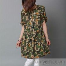Amy green print summer dress cotton tunic oversize sundress