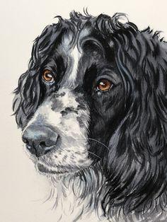 Custom Watercolor Pet Portraits from Photos Portraits From Photos, Pet Portraits, Springer Spaniel, Watercolor Portraits, Your Dog, Art Ideas, Lion Sculpture, Statue, Live