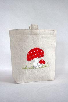 Reusable Sandwich Bag, Toadstool Mushroom. $8.00, via Etsy.