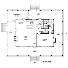 Houseplans.com Country Main Floor Plan Plan #81-13876  Very comfortable layout  with room for staircase to upstairs. Main floor could be shrunk to 35 x 30. I like the private toilet off the bedroom.   Ideally I would like a sink and makeup mirror in my walk in closet, too.