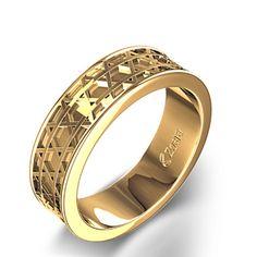 Star of David Wedding Ring in 14k Yellow Gold
