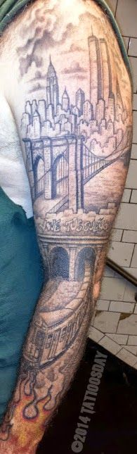 Tattoosday (A Tattoo Blog): New York City in Black and Gray http://tattoosday.blogspot.com/2014/06/new-york-city-in-black-and-gray.html