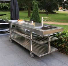 Mobil outdoor kitchen 220x70x100cm - MUNGI MBK by abk-outdoor.com