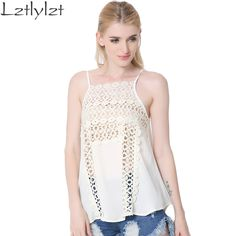 Womens lace Tops for summer Brand Beach style hollow out sleeveless Sexy camis Backless Chiffon women tank top