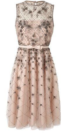 blush organza dress with silver lattice lace overlay / Valentino