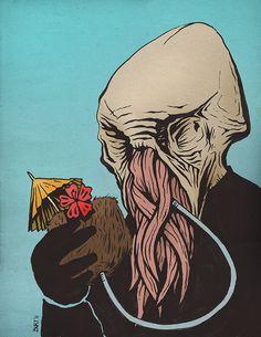 burtondurand:  An illustration I did of an Ood enjoying some R Gotta love Doctor Who.