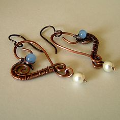 copper heart bracelet | Copper Jewelry, Antiqued (Oxidized) Copper Heart Earrings Adorned with ...