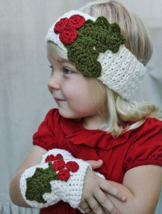 Crochet PATTERN-The Noel Wrist Warmers (Toddler, Child, Adult Sizes) Holly Berries Also Available as a Made to Order Item DIY Holiday Gift