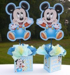 Image detail for -Baby Mickey Mouse Birthday Party Centerpiece, blue, baby shower, Baby Mickey Mouse, Festa Mickey Baby, Fiesta Mickey Mouse, Mickey Party, Disney Mickey, Mickey 1st Birthdays, Mickey Mouse 1st Birthday, Baby Boy 1st Birthday, Birthday Ideas