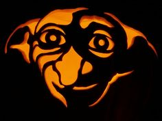 Harry Potter Costume Dobby lives on in pumpkin form. - Harry Potter Pumpkins For Halloween Awesome Pumpkin Carvings, Scary Pumpkin Carving, Halloween Pumpkin Carving Stencils, Halloween Pumpkin Designs, Pumpkin Carving Templates, Pumpkin Stencil, Halloween Pumpkins, Halloween Quotes, Halloween Stuff