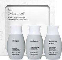 Living Proof Full Shampoo, Conditioner, and Thickening Cream. Best products ever for fine hair.