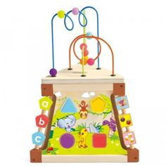 A wooden triangle-shaped play center featuring gears, a shape sorter, peg board, and more.